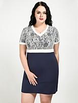 cheap -Cute Ann Women's Basic / Sophisticated Shift / Sheath Dress - Color Block Blue & White, Lace