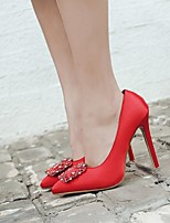 cheap -Women's Shoes Silk Spring & Summer Basic Pump Heels Stiletto Heel Pointed Toe Rhinestone Red / Green / Party & Evening
