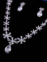 cheap -Women's Cubic Zirconia Jewelry Set - Flower Sweet, Fashion Include Drop Earrings / Pendant Necklace White For Wedding / Party