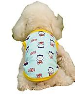 baratos -Cachorros / Gatos / Animais de Estimação Colete Roupas para Cães Bandeiras / Personagem / Formais Amarelo / Azul Algodão / Poliéster