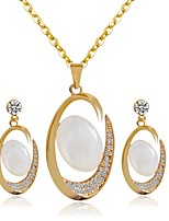cheap -Women's Cubic Zirconia Jewelry Set - Gold Plated Drop, Heart Luxury, Vintage, Elegant Include Drop Earrings / Pendant Necklace Gold For Wedding / Party