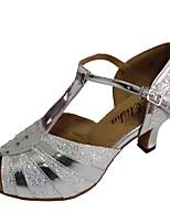 cheap -Women's Latin Shoes Patent Leather Heel Cuban Heel Customizable Dance Shoes Silver
