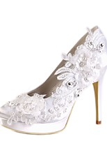 cheap -Women's Shoes Satin Spring & Summer Basic Pump Wedding Shoes Stiletto Heel Round Toe Rhinestone / Pearl White