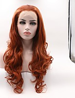 cheap -Synthetic Lace Front Wig Wavy Layered Haircut Synthetic Hair Curler & straightener Red Wig Women's Mid Length Lace Front Wig / Yes