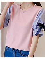cheap -Women's Cotton T-shirt - Solid Colored / Color Block