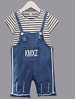 preiswerte -Kinder Unisex Gestreift Kurzarm Kleidungs Set