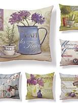 economico -6 pezzi Tessuto / Cotone / Lino Federa, Con stampe / Artistico / Stampe Quadrata / Stile europeo