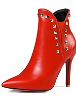 cheap -Women's Shoes Faux Leather Fall & Winter Bootie Boots Walking Shoes Stiletto Heel Pointed Toe Booties / Ankle Boots Rivet Beige / Red /