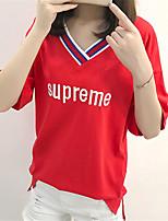 abordables -Tee-shirt Femme, Couleur Pleine Col en V