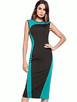 cheap -TS - Dreamy Land Women's Slim Sheath Dress - Color Block