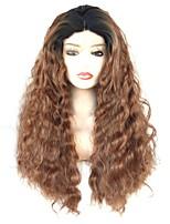 Недорогие -Синтетические кружевные передние парики Волнистый Средняя часть 150% Человека Плотность волос Искусственные волосы Мягкость / Женский /