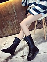 cheap -Women's Shoes PU Fall Winter Combat Boots Boots Block Heel Mid-Calf Boots for Black Brown