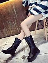 Недорогие -Жен. Обувь Полиуретан Осень Зима Армейские ботинки Ботинки Блочная пятка Сапоги до середины икры для Черный Коричневый