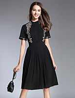 cheap -SHIHUATANG Women's Street chic A Line Dress - Floral Embroidered