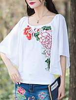 cheap -Women's Cotton Blouse - Floral