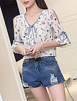 baratos -Mulheres Blusa Estampa Colorida Decote V
