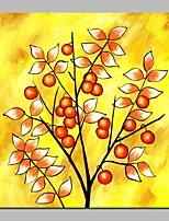 preiswerte -Hang-Ölgemälde Handgemalte - Abstrakt Blumenmuster / Botanisch Zeitgenössisch Segeltuch