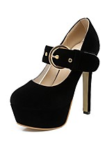 cheap -Women's Shoes Nubuck leather Fall Ankle Strap Heels Stiletto Heel Round Toe Buckle Black / Red / Wedding / Party & Evening