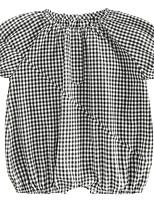 cheap -Baby Unisex Black & White Check Short sleeves Romper