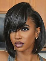 Недорогие -Натуральные волосы Полностью ленточные Парик Бразильские волосы Прямой Стрижка боб 130% плотность С детскими волосами Нейтральный / Черный