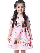 abordables -Enfants Fille Actif / Doux Vacances / Sortie Citron Fleur Imprimé Manches Courtes Au dessus du genou Coton / Polyester Robe Rose Claire