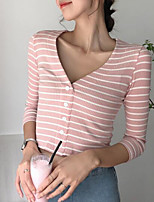 cheap -women's t-shirt - striped v neck