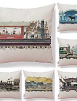economico -6 pezzi Tessuto / Cotone / Lino Federa, Design / Stampe astratte / Stampe Semplice / Quadrata