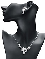 cheap -Women's Cubic Zirconia Jewelry Set - Drop, Flower Sweet, Fashion Include Drop Earrings / Pendant Necklace White For Wedding / Gift