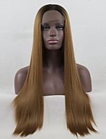 cheap -Ombre Synthetic Lace Front Wig Straight Middle Part Middle Part High Quality Color Gradient Brown Golden Women's Lace Front Party Wig