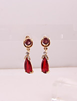 cheap -Women's Stud Earrings / Hoop Earrings - Gold Plated Flower Simple, Fashion Dark Red For Wedding / Office & Career