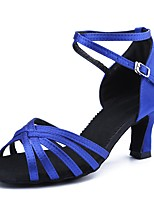 cheap -Women's Latin Shoes Satin Sandal / Heel Training / Performance Buckle Cuban Heel Customizable Dance Shoes Blue