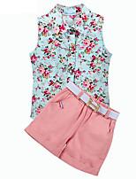 Недорогие -Дети (1-4 лет) Девочки Цветочный принт Без рукавов Набор одежды / Очаровательный