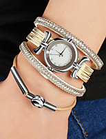 cheap -Women's Quartz Bracelet Watch Chinese Casual Watch PU Band Vintage Silver Gold