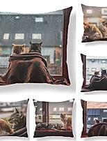 abordables -6 pcs Tissu / Coton / Lin Taie d'oreiller, Décoration artistique / Animal / Imprimé Forme carrée / Décoratif