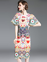 cheap -SHIHUATANG Women's Boho / Sophisticated Flare Sleeve Sheath Dress - Floral Beaded / Print