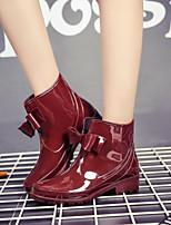 cheap -Women's Shoes PVC Leather Fall & Winter Rain Boots Boots Low Heel Black / Red / Khaki