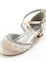 cheap -Girls' Shoes Lace Spring Fall Tiny Heels for Teens Flower Girl Shoes Ankle Strap Ballerina Comfort Heels Rhinestone Buckle Stitching Lace