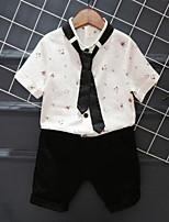 Недорогие -Дети Мальчики Уличный стиль Цветочный принт С принтом С короткими рукавами Обычный Искусственный шёлк Набор одежды Белый