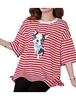 cheap -Women's Vintage T-shirt - Striped Black & Red, Tassel