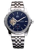 baratos -Homens Relógio Elegante Japanês Cronógrafo / Gravação Oca Aço Inoxidável Banda Luxo / Fashion Preta / Prata