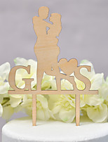 cheap -Cake Topper Classic Theme / Wedding Love Wooden / Bamboo Wedding / Anniversary with Net 1pcs OPP