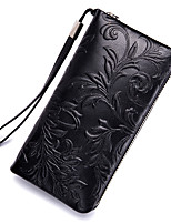 cheap -Unisex Bags Cowhide Wallet Zipper Black