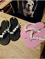 Недорогие -Жен. Обувь КожаПВХ Лето Удобная обувь Тапочки и Шлепанцы На плоской подошве для Повседневные Черный Розовый