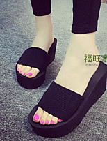 cheap -Women's Shoes Fabric Summer Comfort Slippers & Flip-Flops Creepers for Casual Black Fuchsia