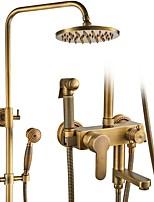 baratos -Torneira de Chuveiro - Clássica Bronze Envelhecido Banheira e Chuveiro Válvula Cerâmica