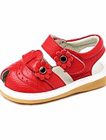 cheap -Girls' Shoes Cowhide Summer First Walkers Sandals Flower for Outdoor Red Pink