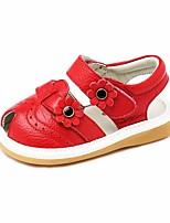 Недорогие -Девочки Обувь Кожа Лето Обувь для малышей Сандалии Цветы для Красный / Розовый