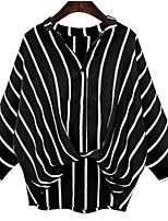 Недорогие -Жен. Рубашка V-образный вырез Полоски