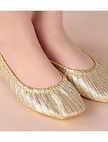 abordables -Femme Chaussures de Ballet Toile Plate Entraînement Talon Plat Chaussures de danse Or