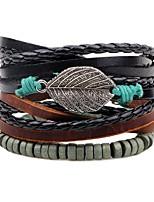 preiswerte -Mehrschichtig / Stapel Lederarmbänder - Blattform Modisch, Mehrlagig Armbänder Schwarz Für Zeremonie / Strasse